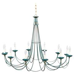 French Vintage Twelve-Light Metal Chandelier, 1980s