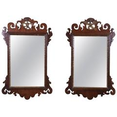 Pair of Chippendale Mahogany and Giltwood Mirrors