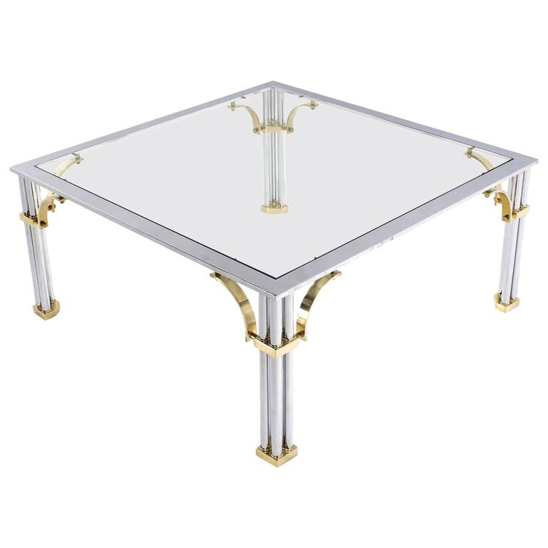 Chrome Brass Glass Top Square Coffee Table