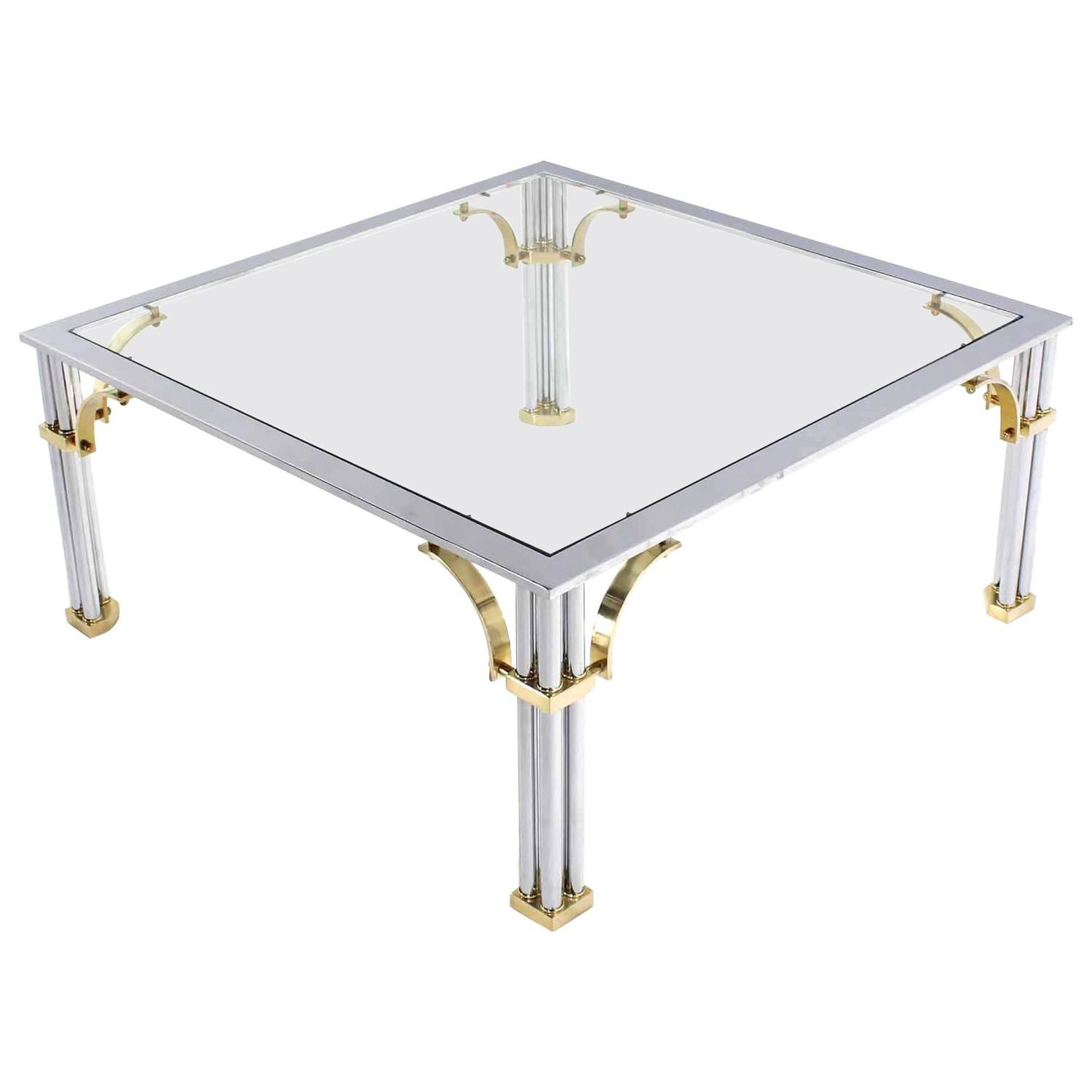 Chrome Brass Glass Top Square Coffee Table For Sale At 1stdibs