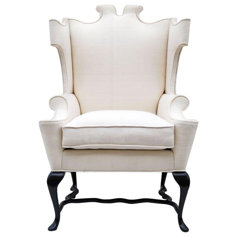 Arturo Pani Fanciful Wing Chair in Tussah Silk For Sale