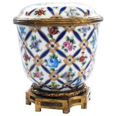 Sevres Porcelain Covered Jar with Gilt Bronze Mounts