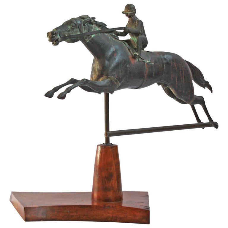 Horse And Jockey Weathervane Circa 1890 By J W Fiske