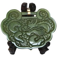 Hand-Carved Green Jade Pendant