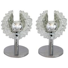Pair of Italian Chrome and Glass Table Lamps