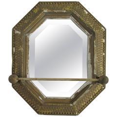 Early Gilt Octagonal Mirror with Towel Bar