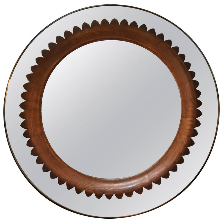 Circular Walnut Wall Mirror by Fratelli Marelli Italy, circa 1950s 1