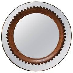 Circular Walnut Wall Mirror by Fratelli Marelli Italy, circa 1950s