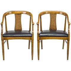 Mid Century Danish Style Leather Seat Armchairs, Pair