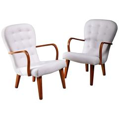 Pair of Lounge Chairs with Curved Armrests, Denmark, 1940s