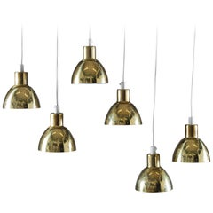 """Small Pendants """"Flora"""" in Perforated Brass by Hans-Agne Jakobsson"""