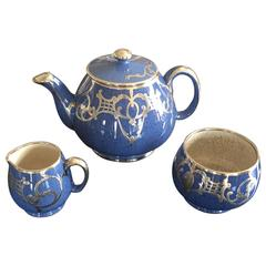 Moorcroft English Pottery Tea Service in Lapis Blue with Silver Overlay