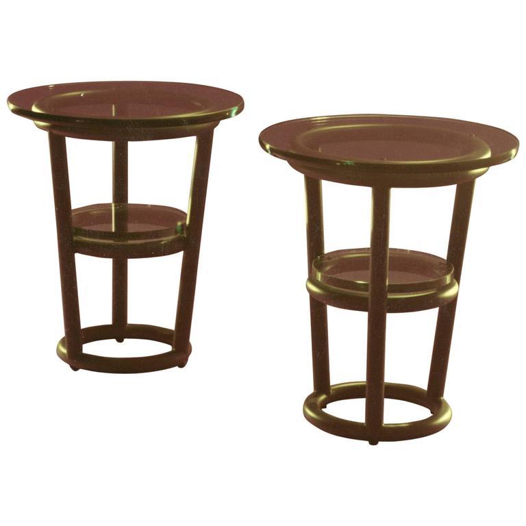 Pair of David Ebner Tubular Steel Side Tables
