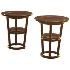 Pair of David Ebner Tubular Steel Side Tables