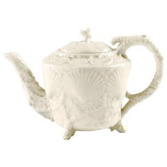 19th Century Belleek Footed Shell Porcelain Teapot, Second Period