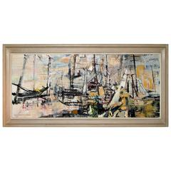 Mid-Century Acrylic Abstract Harbor Scene Jeanette T Kann