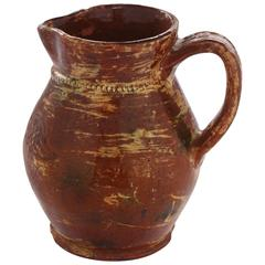 Glazed Redware Pitcher with Incised Federal Eagle Attributed to Jacob Medinger