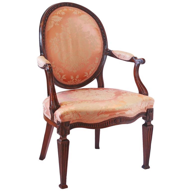 George III Mahogany Open Armchair For Sale
