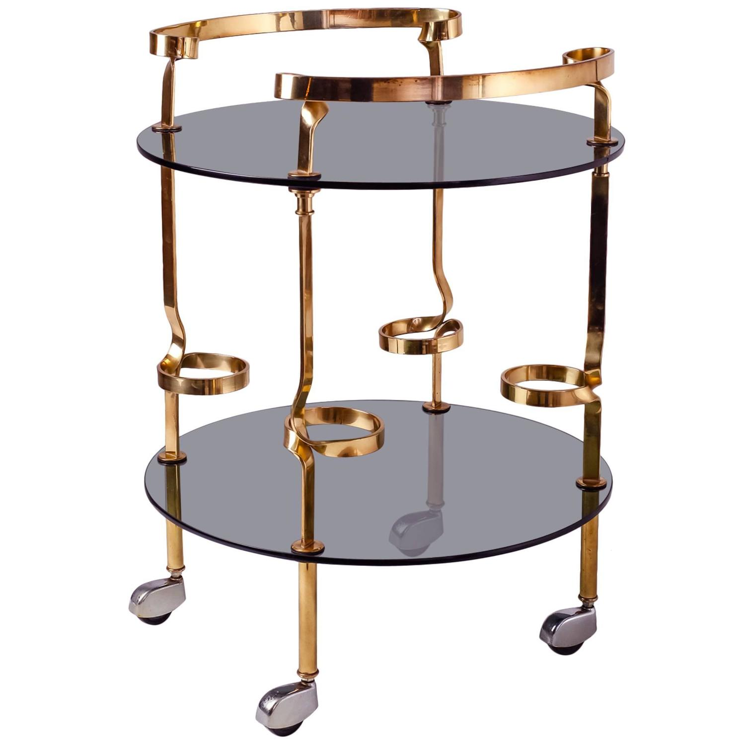 glass and brass bar cart italy 1950s at 1stdibs. Black Bedroom Furniture Sets. Home Design Ideas