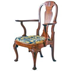 18th Century George I Walnut Armchair