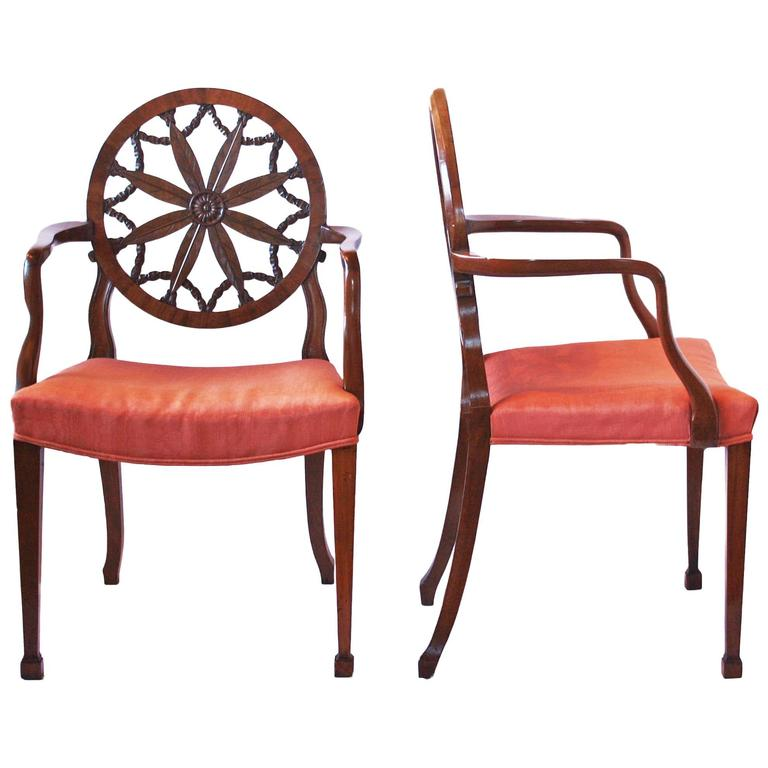 Pair of George III Mahogany Elbow Chairs in the Manner of Robert Adam For Sale