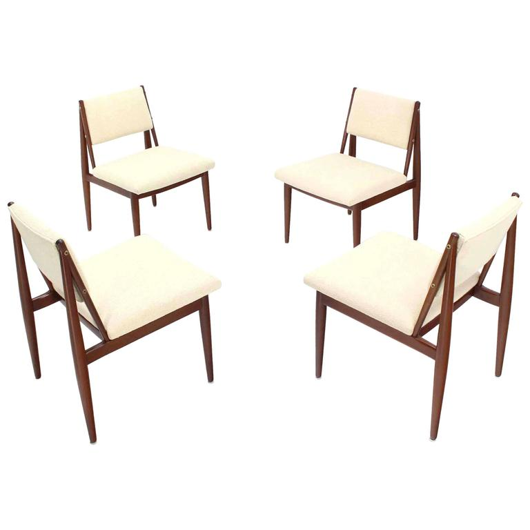 set of four mid century modern dining chairs with