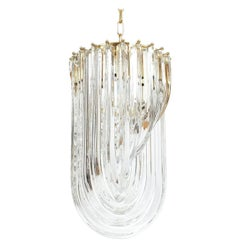 One of Three Venini Curved Crystal Glass Gilt Brass Chandelier