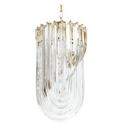 Venini Curved Crystal Glass Gilt Brass Chandelier