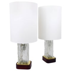 Pair of Kalmar Ice Glass Side Lamps with Round Lampshades, Austria, 1950s
