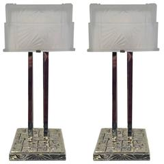 Pair of French Art Deco Geometric Table Lamps