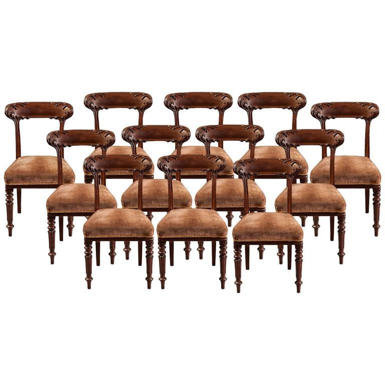 Set of 12 English Mahogany Dining Chairs by Howard & Sons