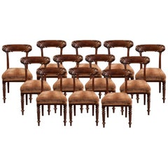 Set of 12 English Mahogany Dining Chairs by Howard & Sons