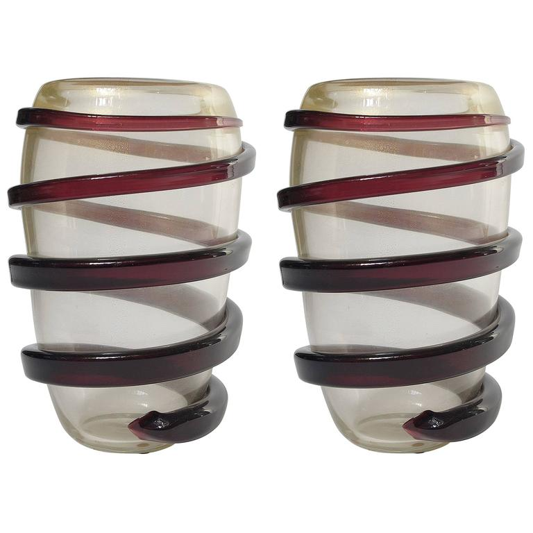 Pair of Italian Murano Glass Vases by Cenedese