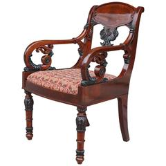 19th Century Neoclassical Russian Carved Mahogany Armchair