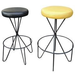 Pair of Mid-Century Modern Frederick Weinberg Bar Stools