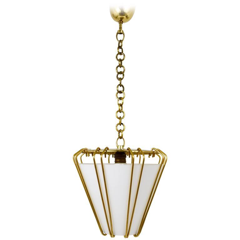 Kalmar Austria Modernist Brass Lantern, Pendant Lamp, 1950s