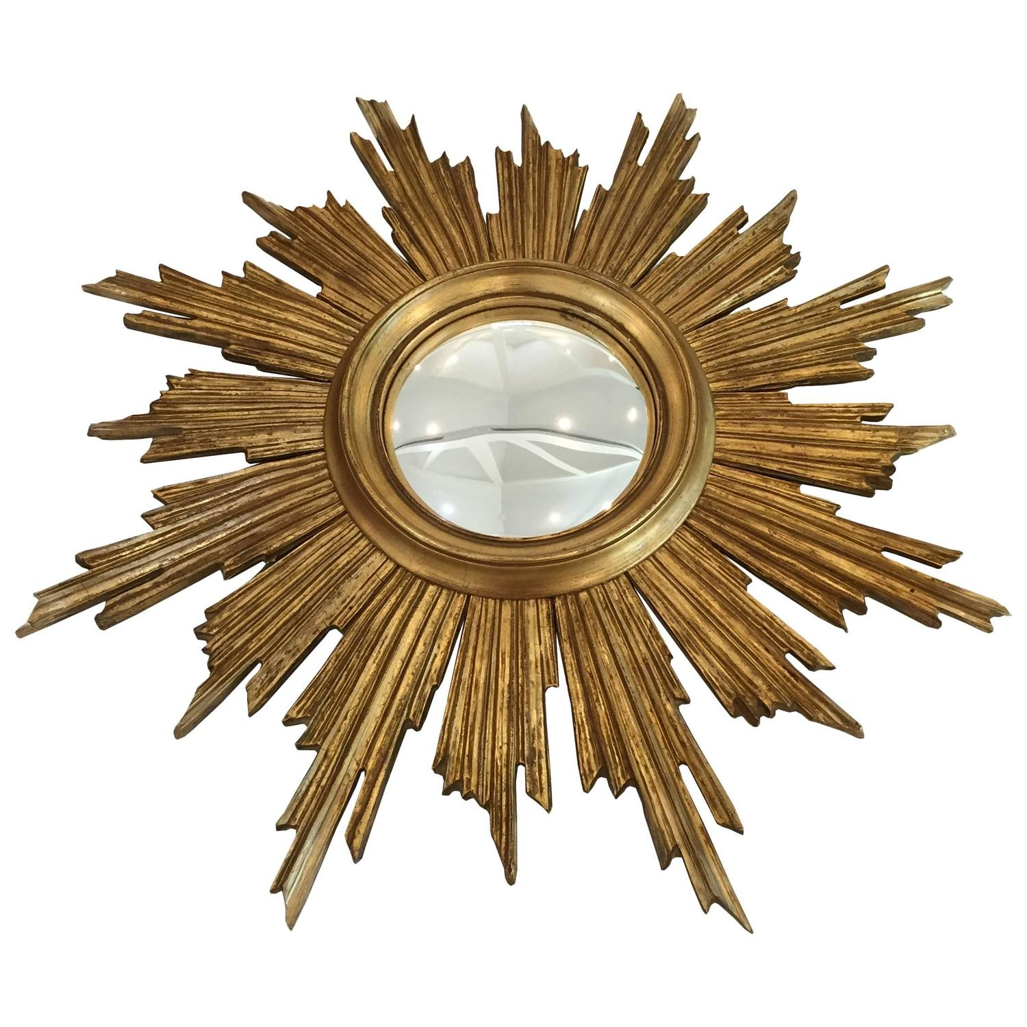 Midcentury gold painted wooden sunburst mirror at 1stdibs for Wooden mirror