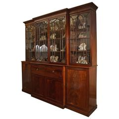 Large Early 19th Century Mahogany English Breakfront Secretary