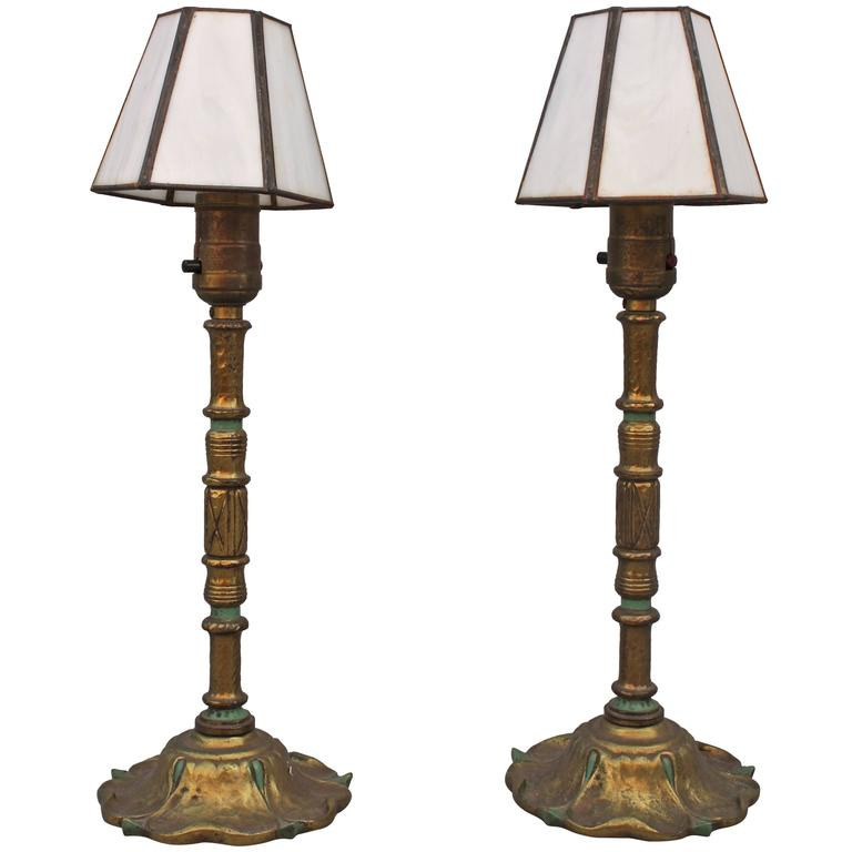 Pair of small 1920s cast brass table lamps with new glass shades at pair of small 1920s cast brass table lamps with new glass shades for sale aloadofball Choice Image