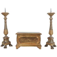 Pair of 18th Century Italian Pricket Candlesticks and a Gilded Wood Box