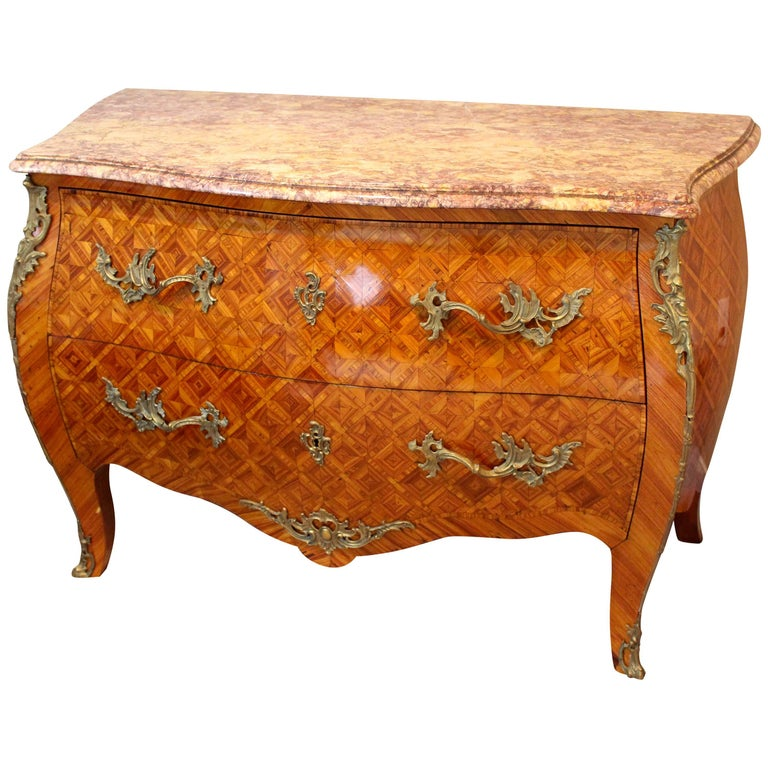 19th Century French Antique Louis XV Style Bombe Commode  For Sale