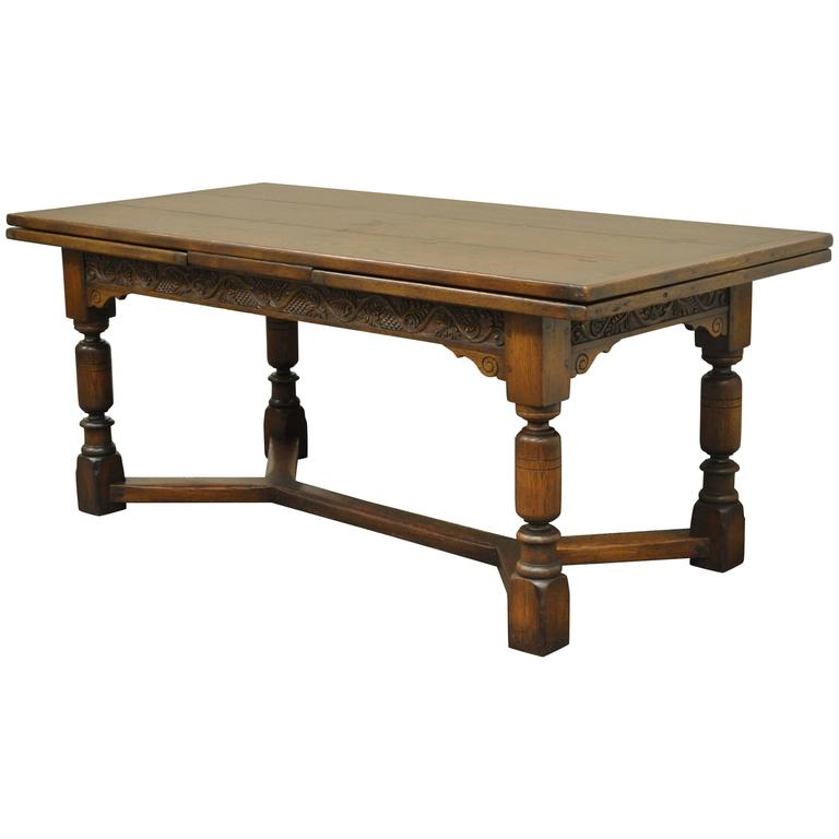 1930s Solid Carved Oak Jacobean Style Refectory Extension Plank Dining Table For Sale
