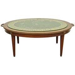 Vintage Greek Key Reverse Decorated Glass and Mahogany Coffee Table