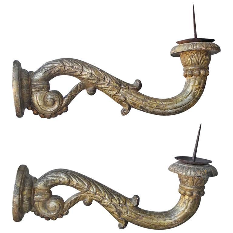 Antique Pair of 18th Century Gold Italian Appliques