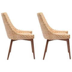 Pair of Modern Seagrass and Cherrywood Chairs