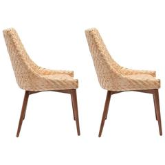 pair of modern seagrass and cherrywood chairs - Seagrass Chairs