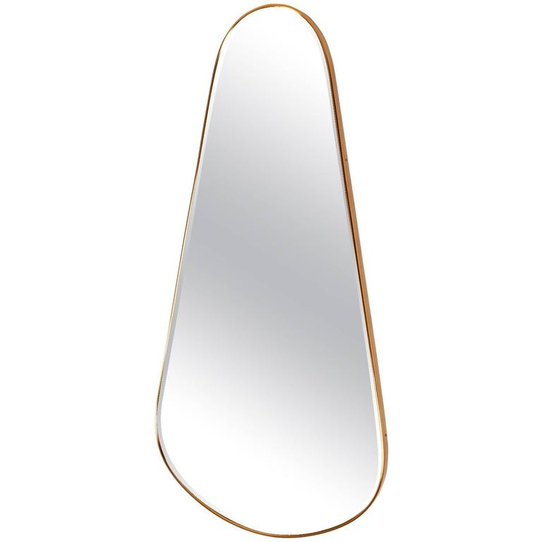 Tear-Drop Brass Mirror, Italy, 1950s For Sale