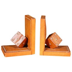 Pair of French Leather Dice Bookends
