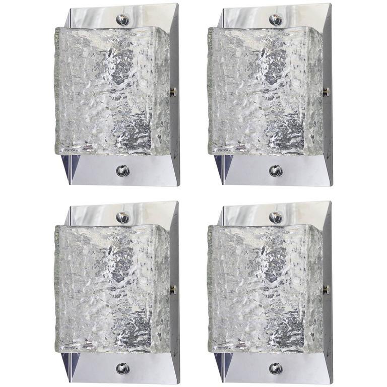 Set of Four Italian Murano Textured Glass Sconces by Mazzega