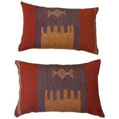 Pair of Abstract Handwoven Pillows